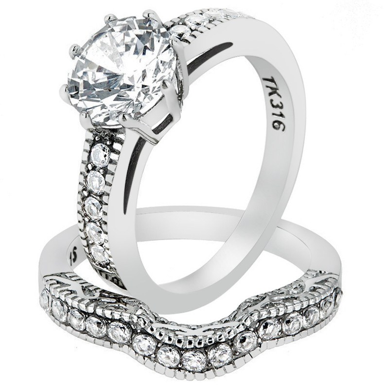 2.29 Ct Round Cut Cz Stainless Steel Vintage Wedding Ring Set Women's Size 5-10