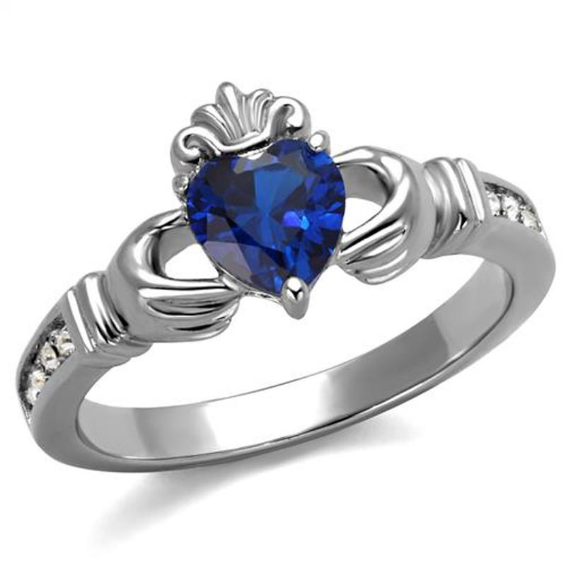 Heart Shape London Blue CZ Stainless Steel Irish Claddagh Ring Women's Size 5-10