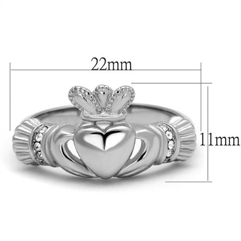 ARTK2094 Women's Stainless Steel Irish Claddagh Crystal Promise Fashion Ring Size 5-10