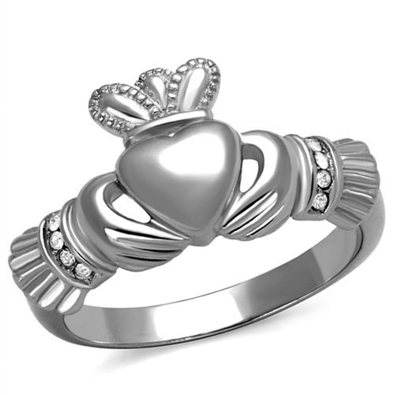 Stainless Steel Irish Claddagh Crystal Promise Fashion Ring Women's Size 5-10