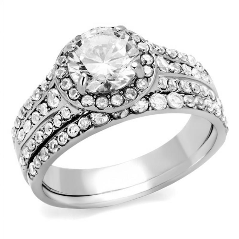 ARTK2476 Stainless Steel 2.45 Ct Halo Round Cut Zirconia Wedding Ring Set Women's Sz 5-11