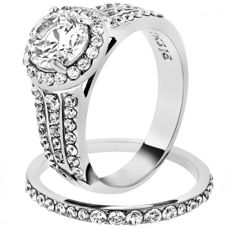 2.45 Ct Halo Round Cut Zirconia Stainless Steel Wedding Ring Set Women's Sz 5-10