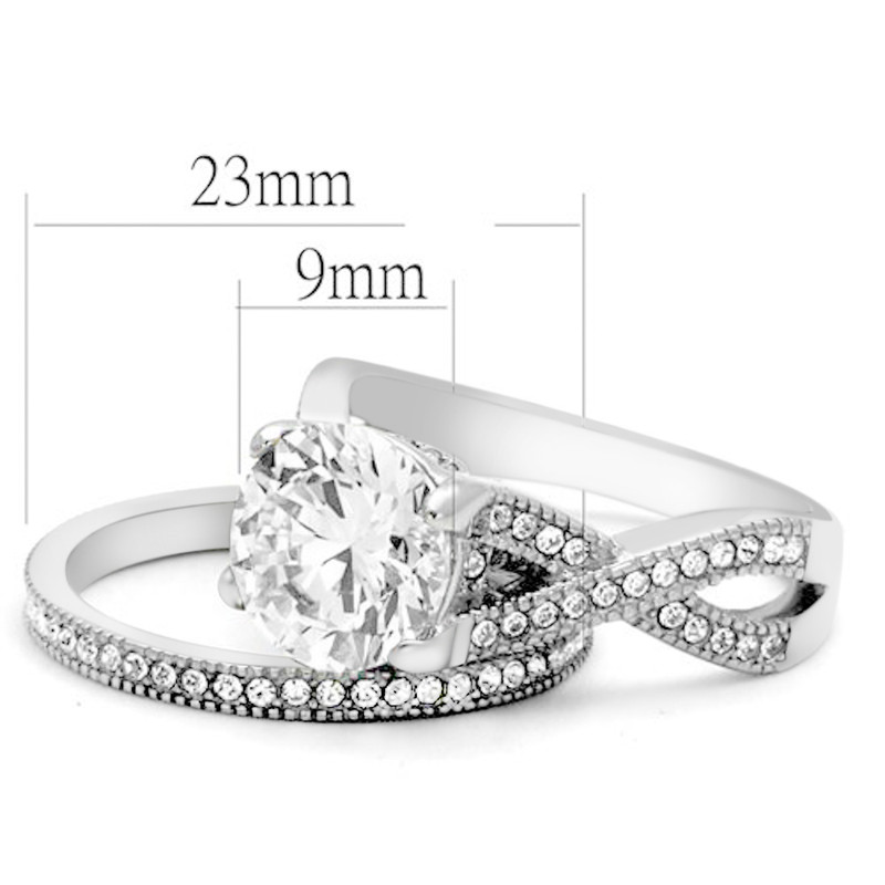 ARTK2478 Stainless Steel 3.3 Ct Round Cut Cz Wedding & Eternity Ring Set Womens Size 5-10