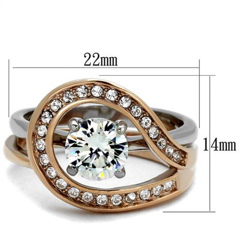ARTK2479 Stainless Steel 1.6 Ct Cz Rose Gold I.P. 2 Piece Wedding Ring Set Womens Sz 5-10