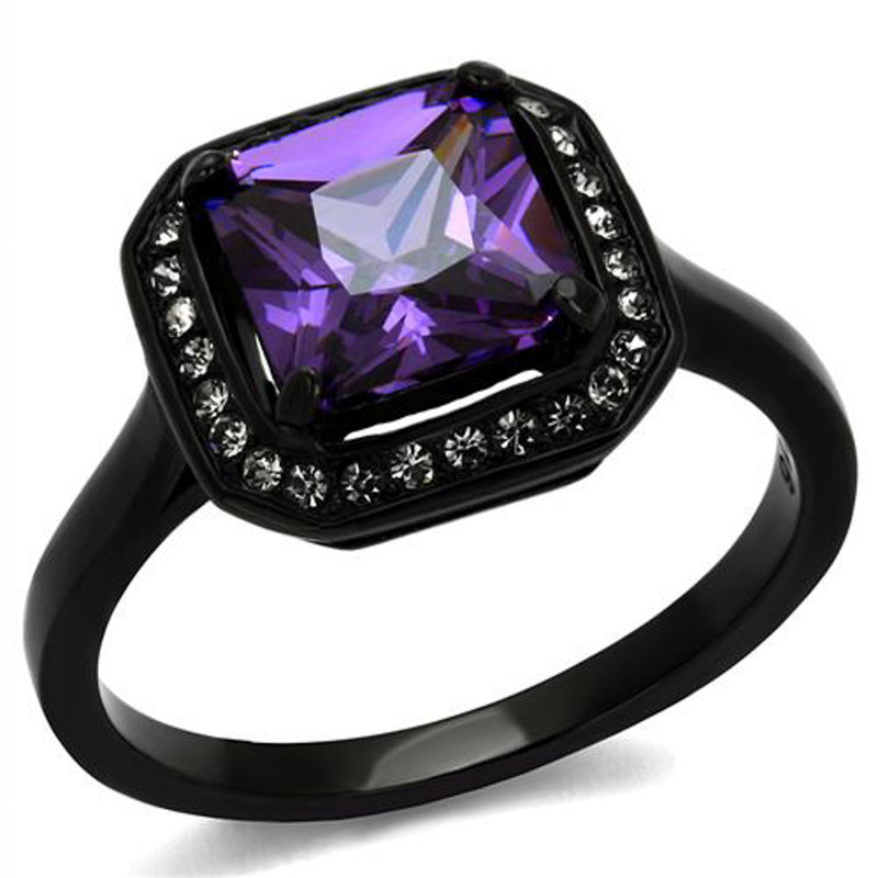 Princess Cut Amethyst Cz Black Stainless Steel Fashion Ring Women's Size 5-10