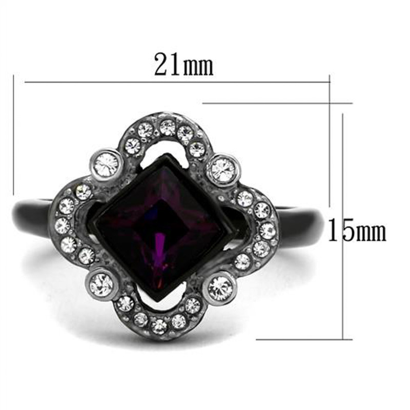 ARTK2489 Black Stainless Steel Princess Cut Amethyst Cz Clover Fashion Ring Women's 5-10