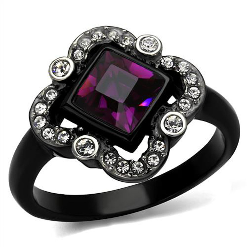 Princess Cut Amethyst Cz Black Stainless Steel Clover Fashion Ring Women's 5-10