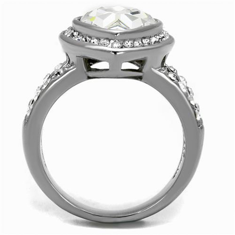 ARTK2504 Stainless Steel 6.34 Ct Pear Cut Crystal Halo Engagement Ring Women's Size 5-10