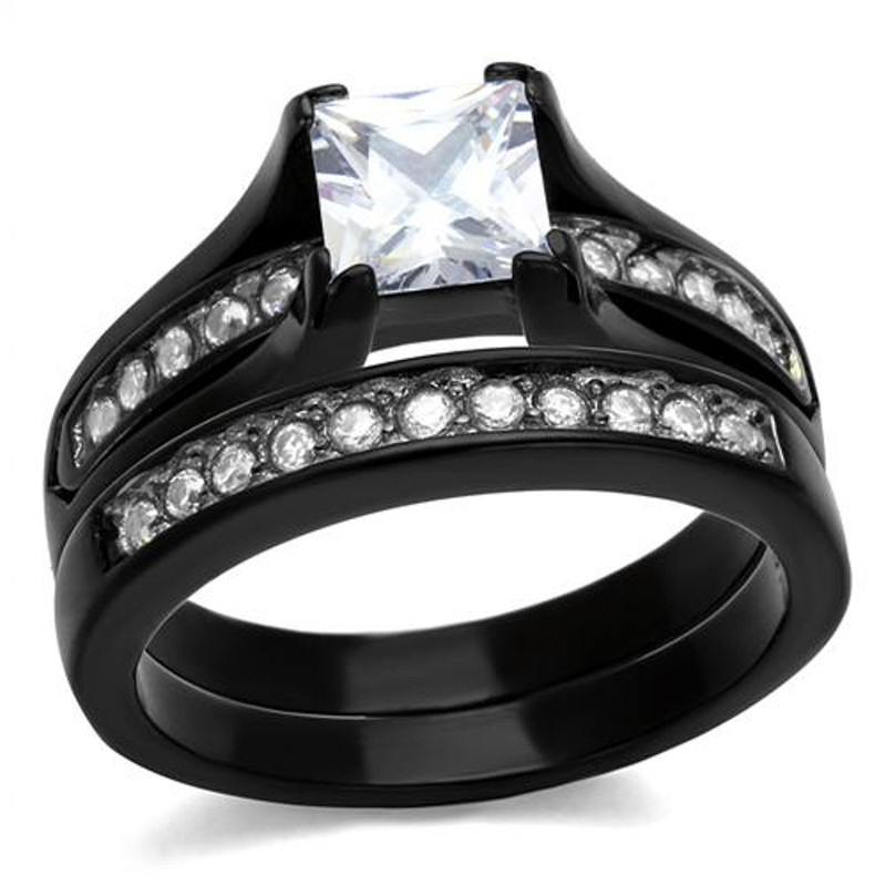ST0W383J-R013 His & Hers 3pc Black Ion Plated Stainless Steel Wedding Engagement Ring Band Set