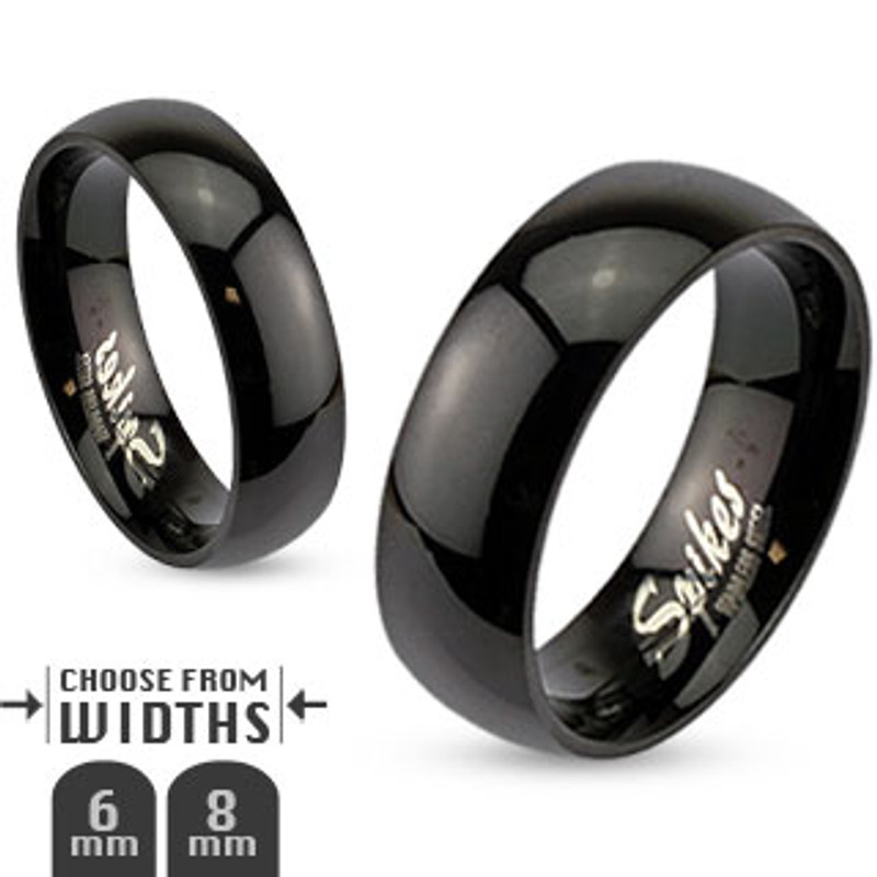 ST0W383J-R003 His & Hers 3pc Stainless Steel Black Ion Plated Wedding Engagement Ring Band Set