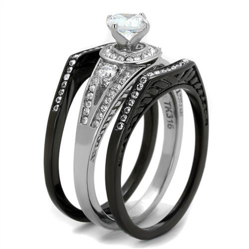 ST2044-ARTI4317 His & Her 4pc Black & Silver Stainless Steel & Titanium Wedding Ring Band Set
