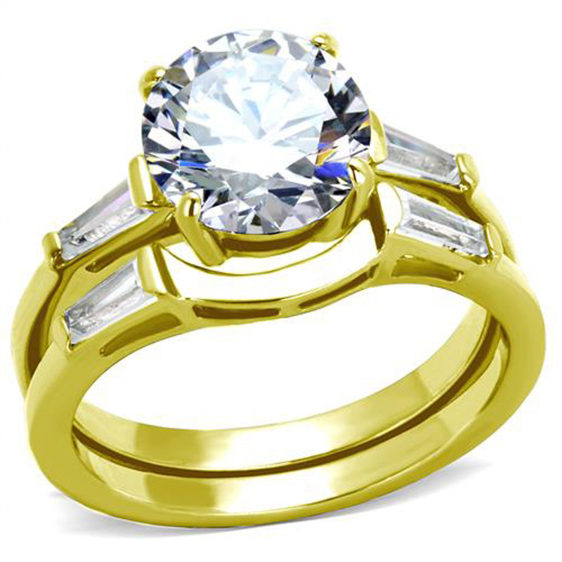 3.39 Ct Round and Baguette Cz Stainless Steel Wedding Ring Set Women's Sz 5-10