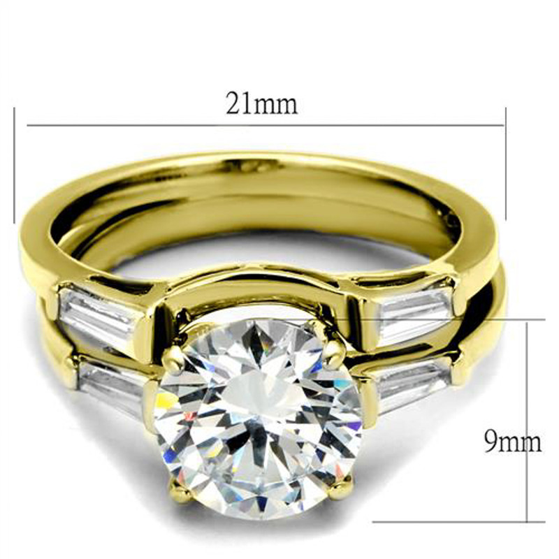 ARTK44701 Women's 3.39 Ct Round and Baguette Cz Stainless Steel Wedding Ring Set Sz 5-10