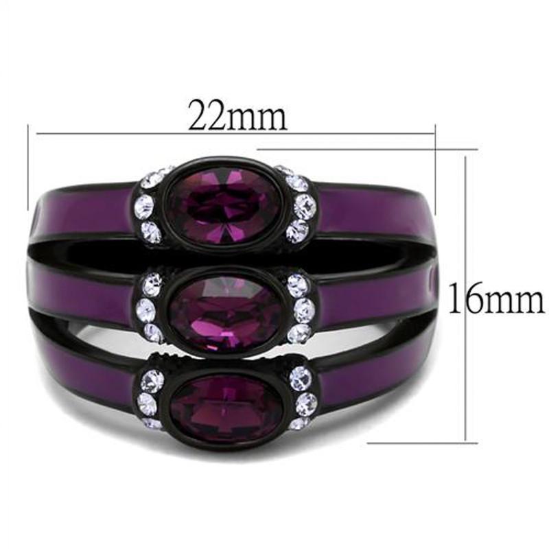 ARTK2213 Women's Black & Purple Stainless Steel Amethyst Crystal Fashion Ring Size 5-10