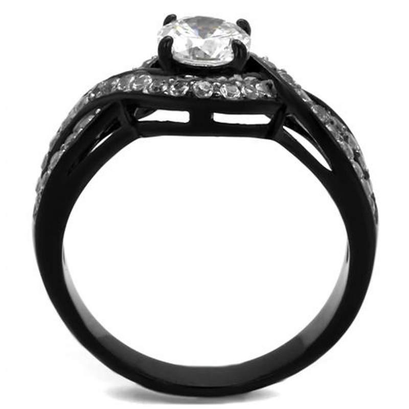 ARTK2282 Stainless Steel 1.65 Ct Round Cut AAA Cz Black Engagement Ring Women's Size 5-10