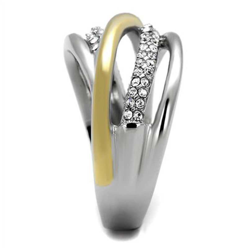 ARTK2263 Stainless Steel Womens Two Toned 14k Gold Plated Micro Pave Crystal Fashion Ring