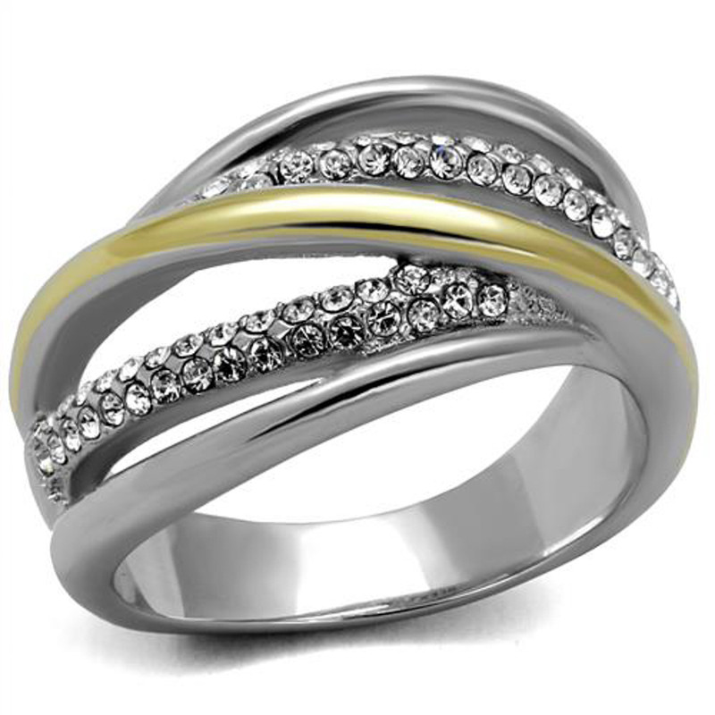 Womens Stainless Steel Two Toned 14k Gold Plated Micro Pave Crystal Fashion Ring