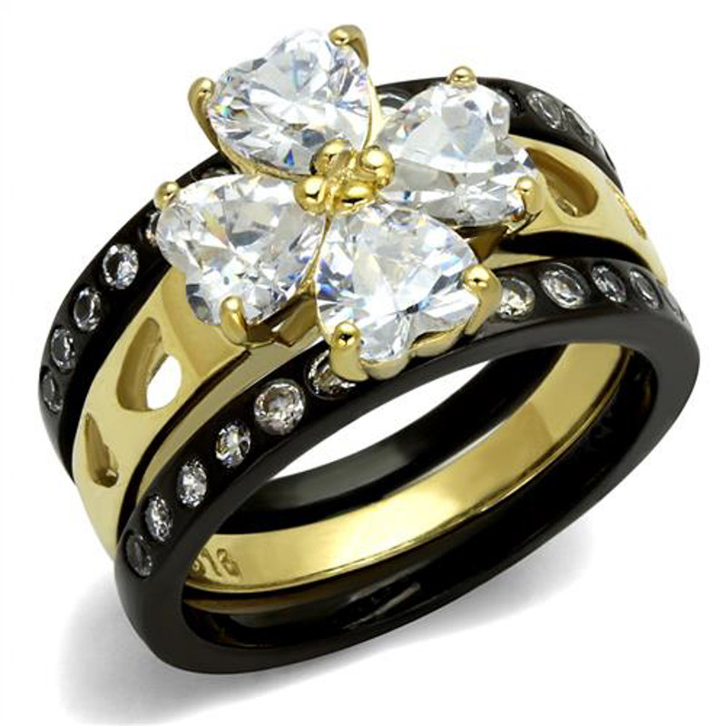 ARTK2496 Stainless Steel 2.89 Ct Heart Cut Black & Gold Plated 3 Pc Wedding Ring Band Set