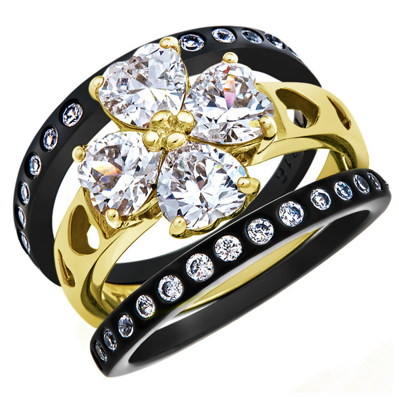 2.89 Ct Heart Cut Black & Gold Plated Stainless Steel 3 Pc Wedding Ring Band Set