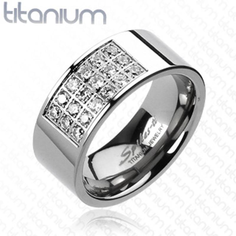ARTI3267 Solid Titanium Radiant Pave Cubic Zirconia Wedding Band Ring Men's Size 9-14