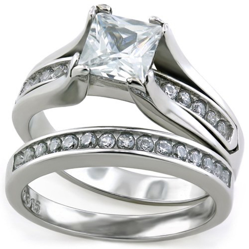 STW383-ARTM3644 Her & His 3pc Titanium & Silver Stainless Steel Wedding Engagement Ring Band Set