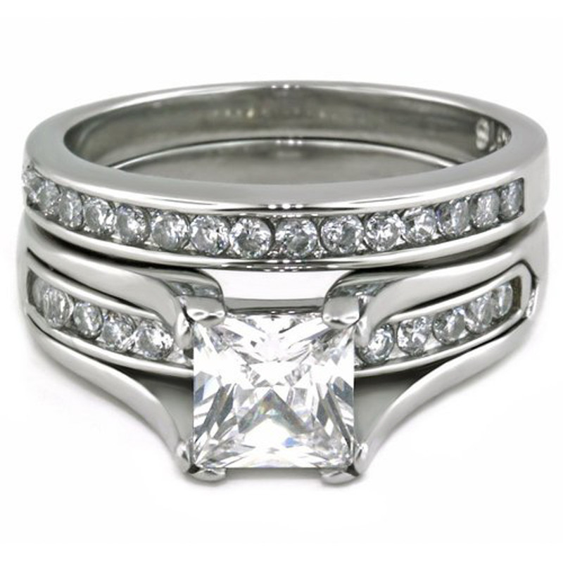 STW383-ARM2462 Her & His 3pc Wedding Engagement Ring & Classic Men's Band Stainless Steel Set