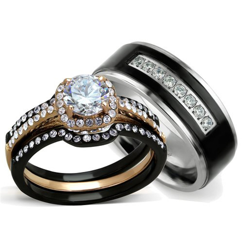 His & Hers 3 PC Rose Gold Stainless Steel Wedding Ring Set & Black Titanium Band