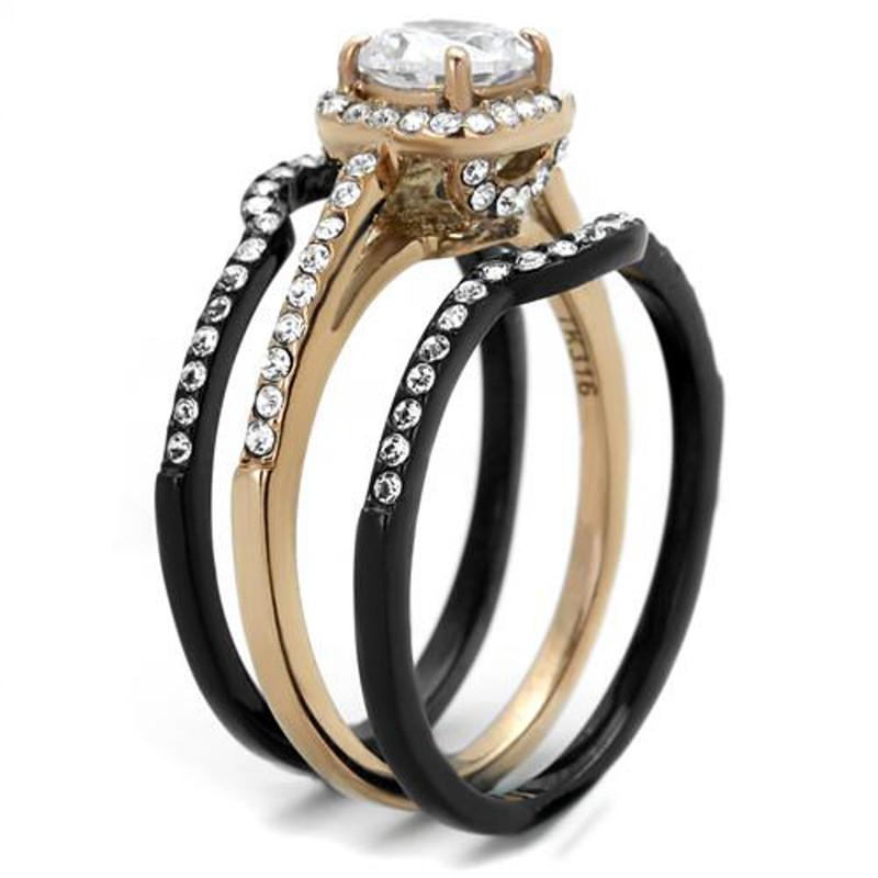 ST2020-ARTM32128 Hers & His 3 PC Rose Gold Stainless Steel Wedding Ring Set & Black Titanium Band
