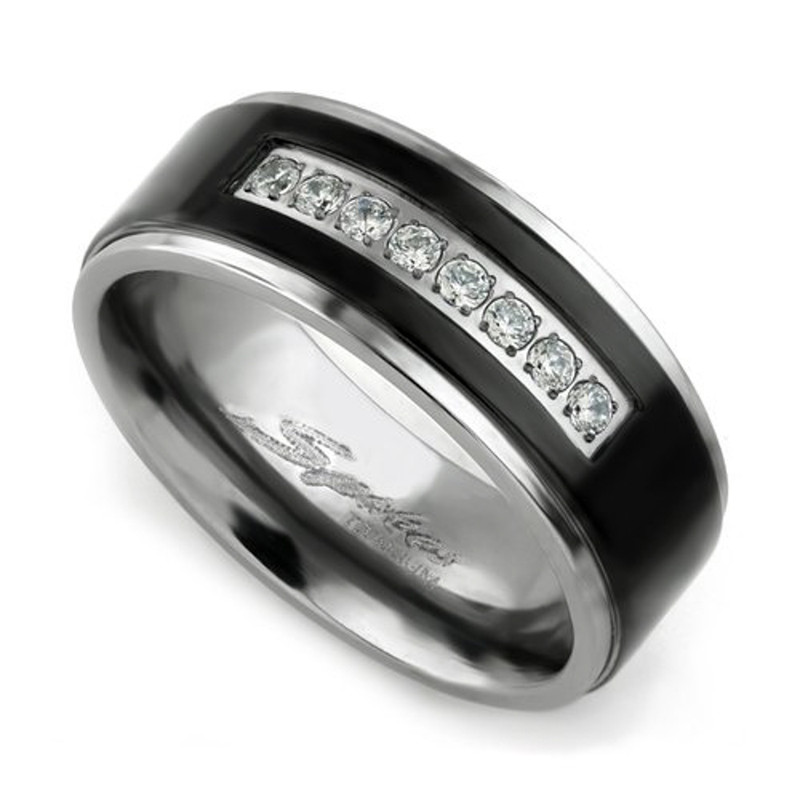 ST1343-ARTM32128 His & Her 4pc Black & Silver Stainless Steel & Titanium Wedding Ring Band Set