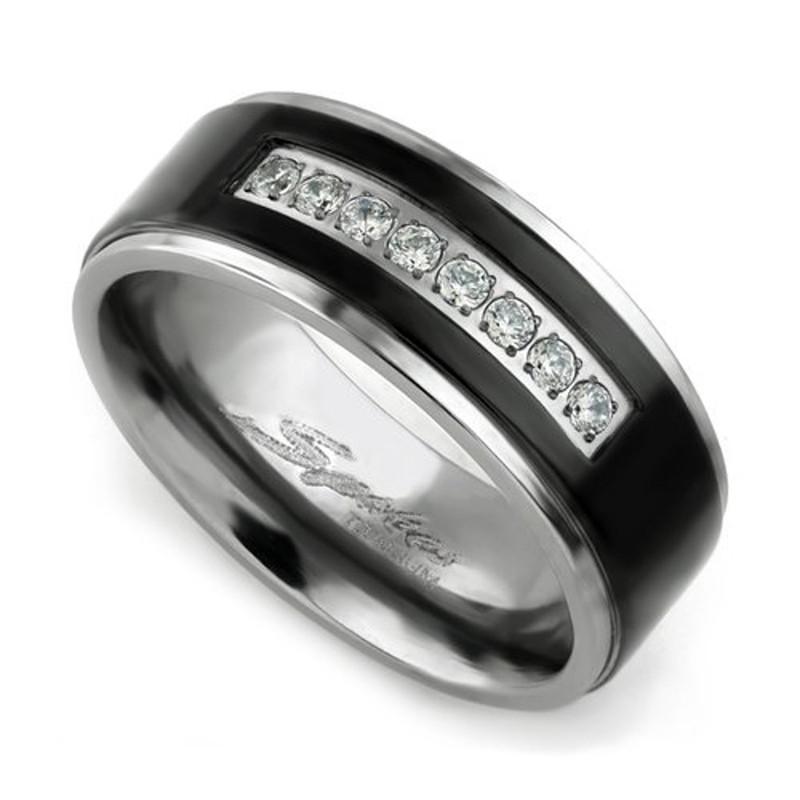 ST0W383J-ARTM32128 His & Her 3 Pc Black Stainless Steel Engagement Wedding Ring Set & Titanium Band