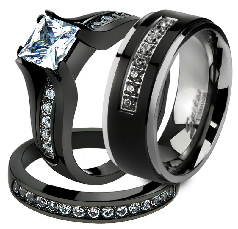 Her & His 3 Pc Black Stainless Steel Engagement Wedding Ring Set & Titanium Band