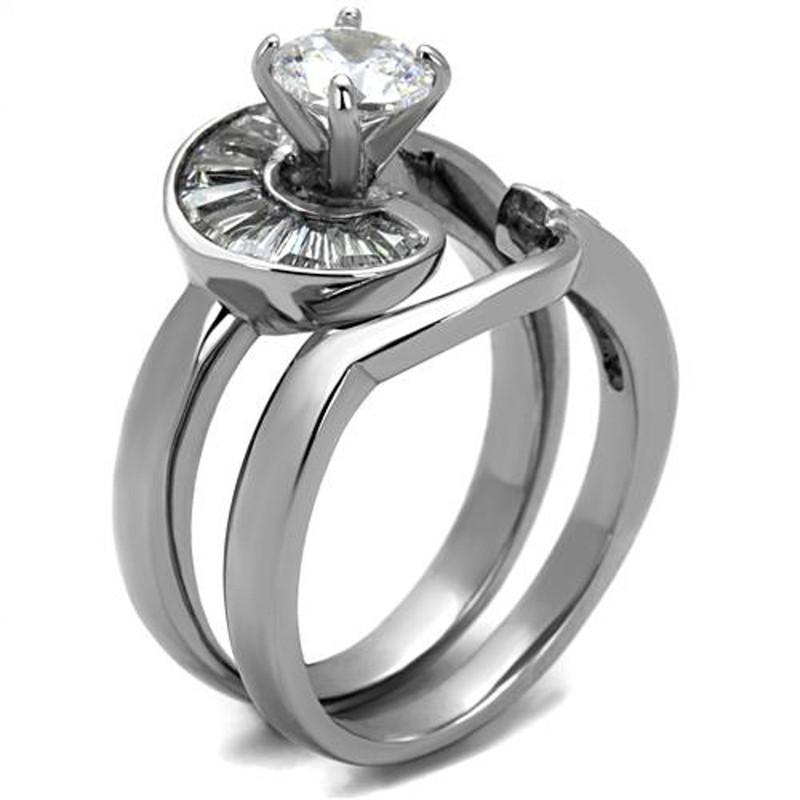 ARTK2617 Women's 1.38 Ct Round & Bagguete Cz Stainless Steel Wedding Ring Set Size 5-10