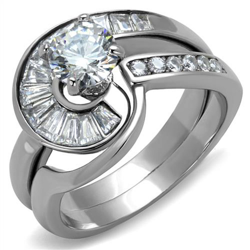 1.38 Ct Round & Bagguete Cz Stainless Steel Wedding Ring Set Women's Size 5-10