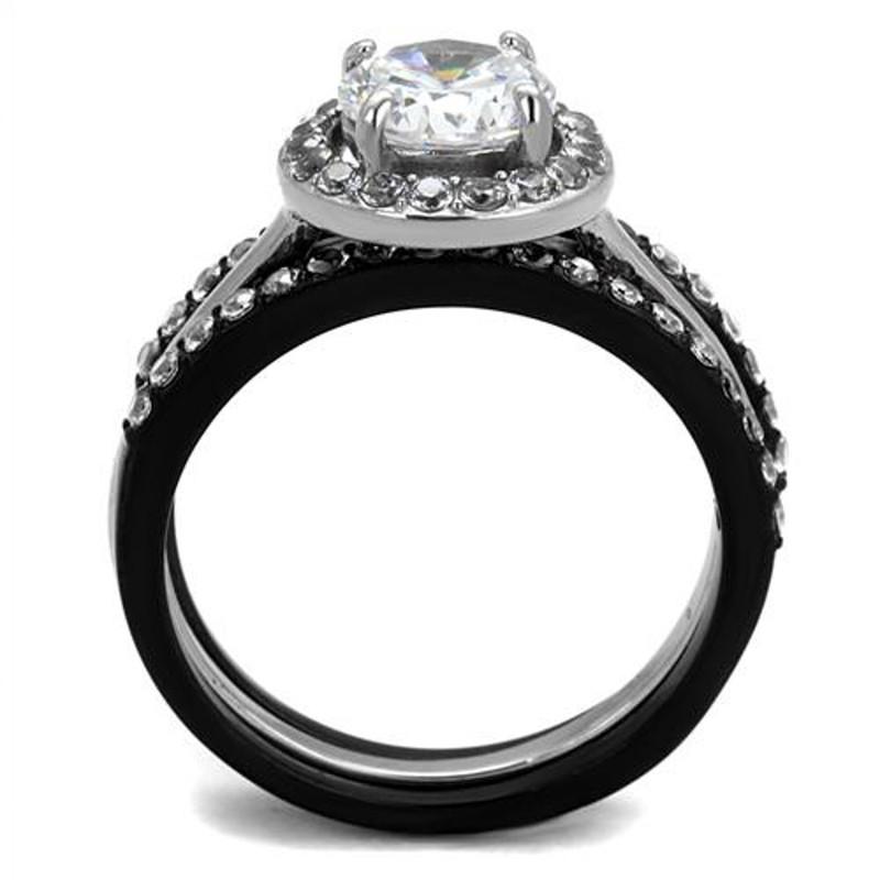 ARTK2620 Women's 2.25 Ct Halo Round Cut Cz Black Stainless Steel Wedding Ring Set Sz 5-10