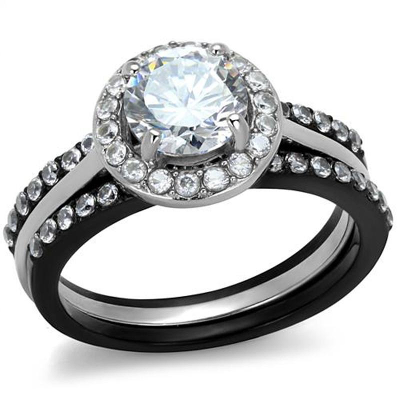 2.25 Ct Halo Round Cut Cz Black Stainless Steel Wedding Ring Set Women's Sz 5-10