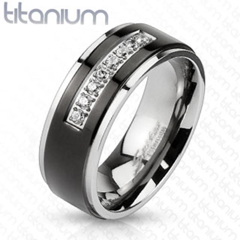 ARTM32128 Solid Titanium Black IP Center Cubic Zirconia Comfort Fit Wedding Men's Band
