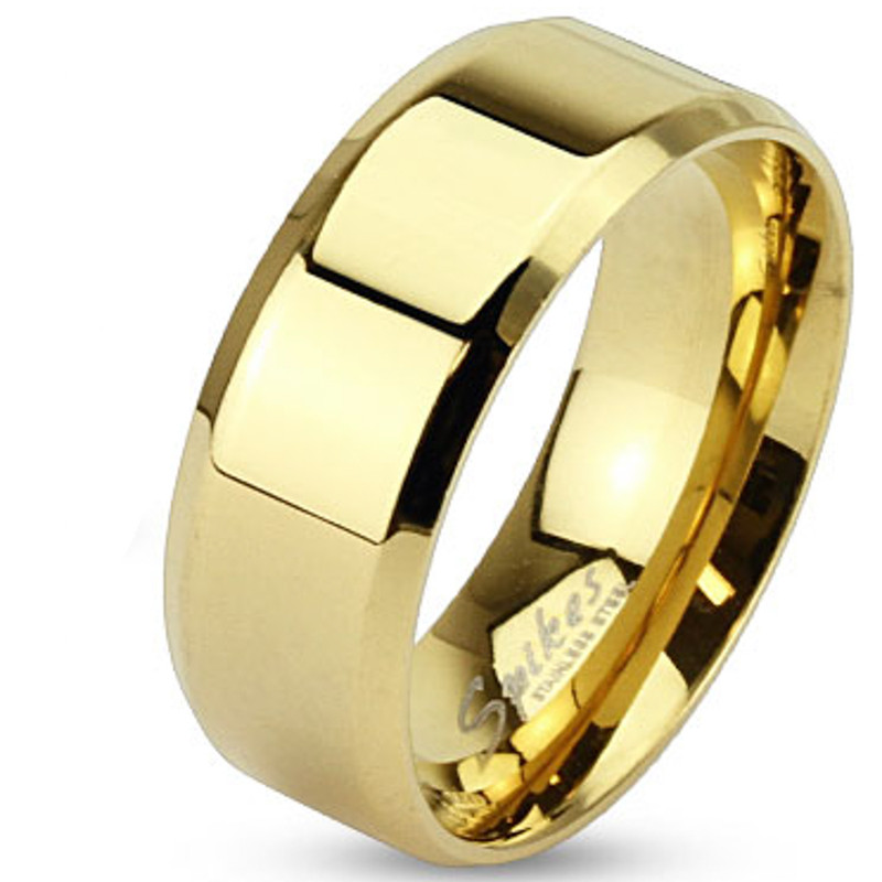 AR081 Stainless Steel 14k Gold Ion Plated Beveled Edge Flat Wedding Band Ring sz 5-14