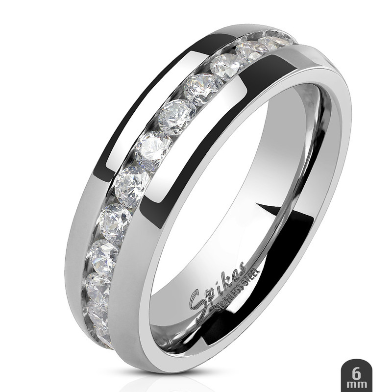 ARH1570 Stainless Steel Round Cut CZ Eternity Wedding Ring Band (4-8mm Wide) Sizes 4.5-13