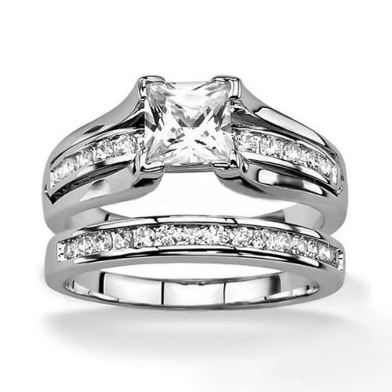 ST0W383-AR001 His and Hers Stainless Steel Princess Wedding Ring Set and Classic Wedding Band