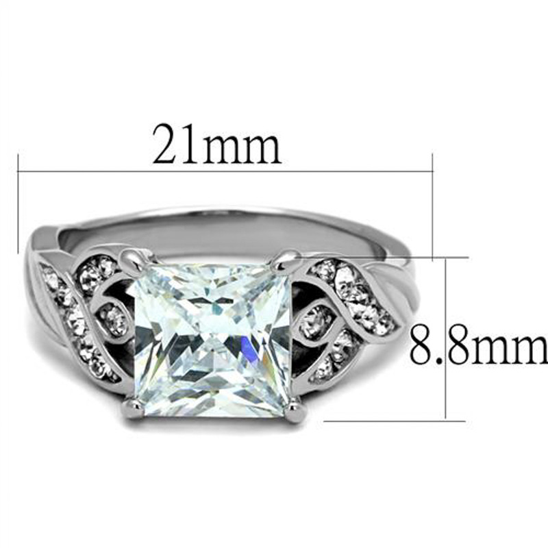 ARTK2657 Stainless Steel Women's 3.09 Ct Princess Cut Zirconia Engagement Ring Size 5-10