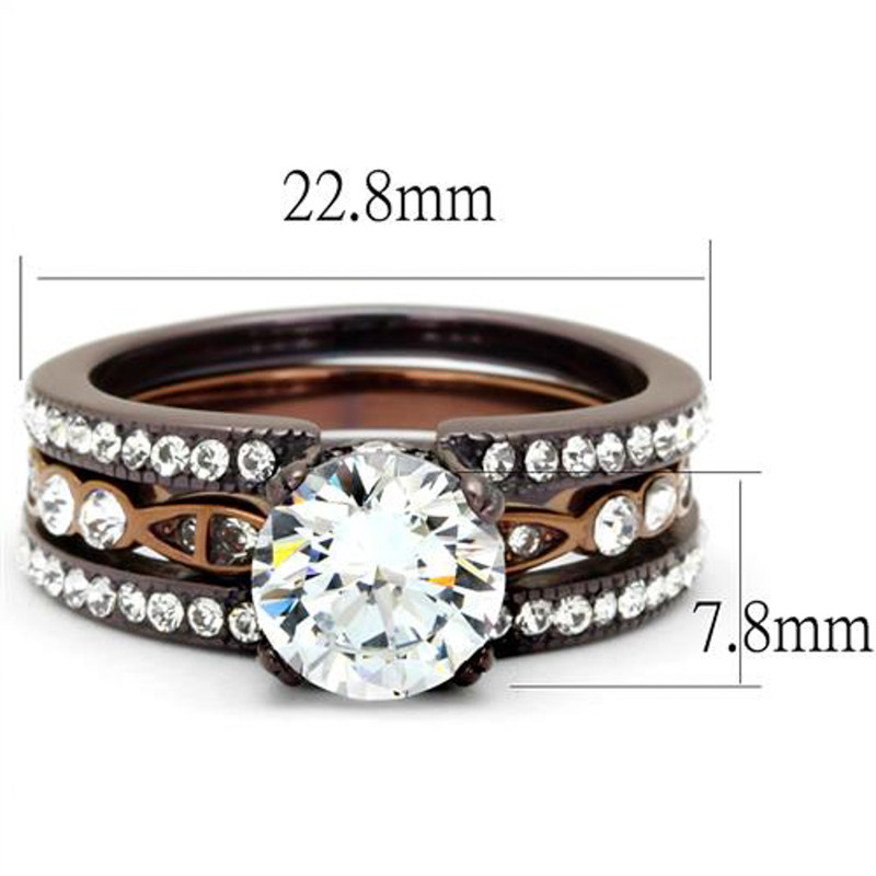 ARTK2560 Chocolate Stainless Steel 2.75 Ct Round Cut Cz Wedding Ring Set Women's Sz 5-10