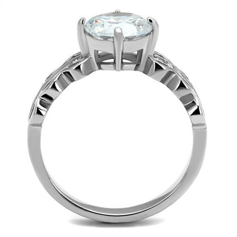 ARTK2658 Stainless Steel 2.11 Ct Round Cut Zirconia Engagement Ring Women's Size 5-10