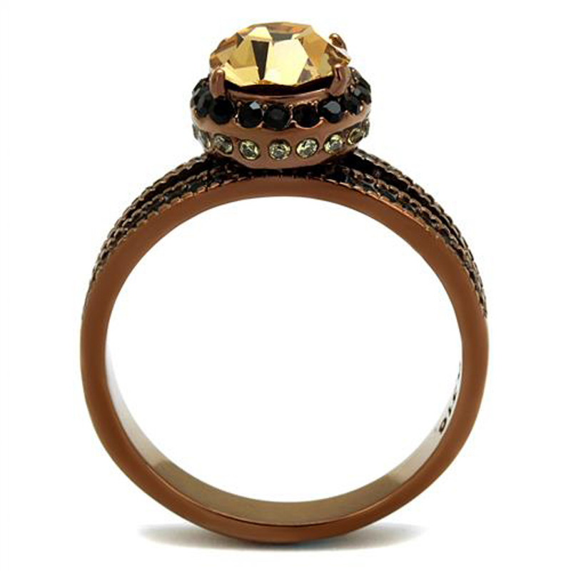 ARTK2654 Brown Plated Stainless Steel Women's 3.35Ct Round Smoked Crystal Engagement Ring