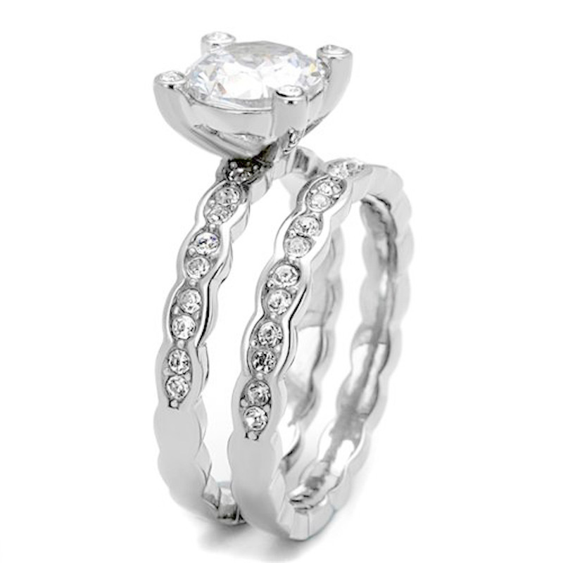 ARTK2659 Stainless Steel Women's 2.25 Ct Round Cut Cz Engagement Wedding Ring Band Set