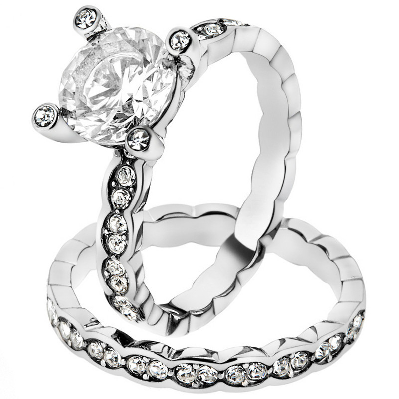 Women's 2.25 Ct Round Cut Cz Stainless Steel Engagement Wedding Ring Band Set
