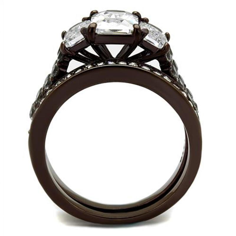 ARTK2646 Dark Brown IP 4.5 Ct Emerald Cut Cz  Wedding Engagement Ring Set Womens Size 5-10