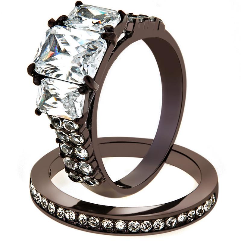 4.5 Ct Emerald Cut Cz Dark Brown IP Wedding Engagement Ring Set Womens Size 5-10