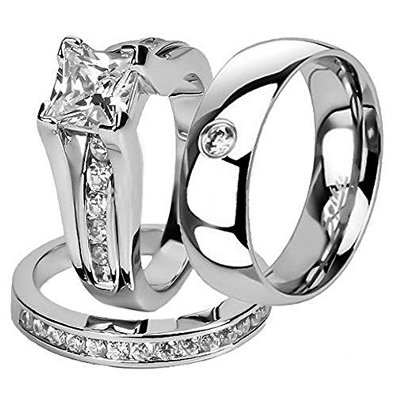 ST0W383-AR001 Hers and His Stainless Steel Princess Wedding Ring Set and Zirconia Wedding Band