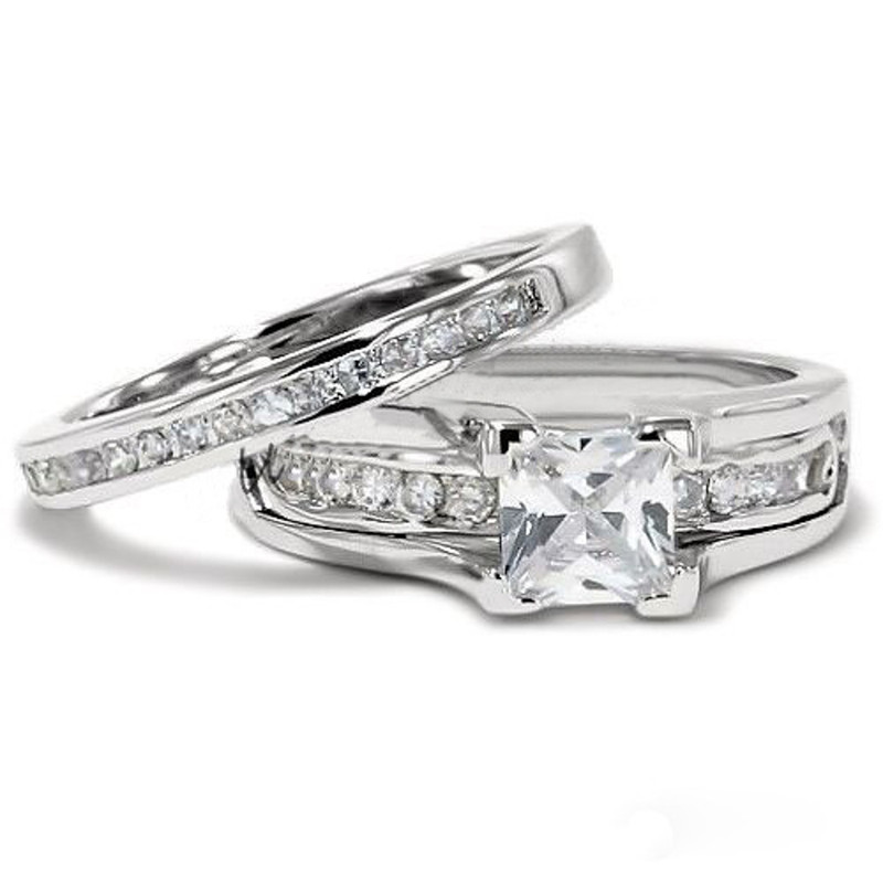 ST0W383-AR011 Hers and His Stainless Steel Princess Wedding Ring Set and Zirconia Wedding Band