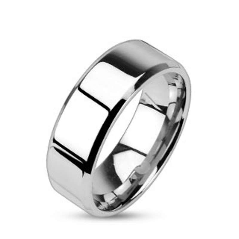 ST0W383-ARM0006 His and Hers Stainless Steel Princess Wedding Ring Set & Beveled Edge Wedding Band